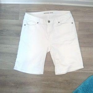 Michael Kors white cotton blend Bermuda shorts